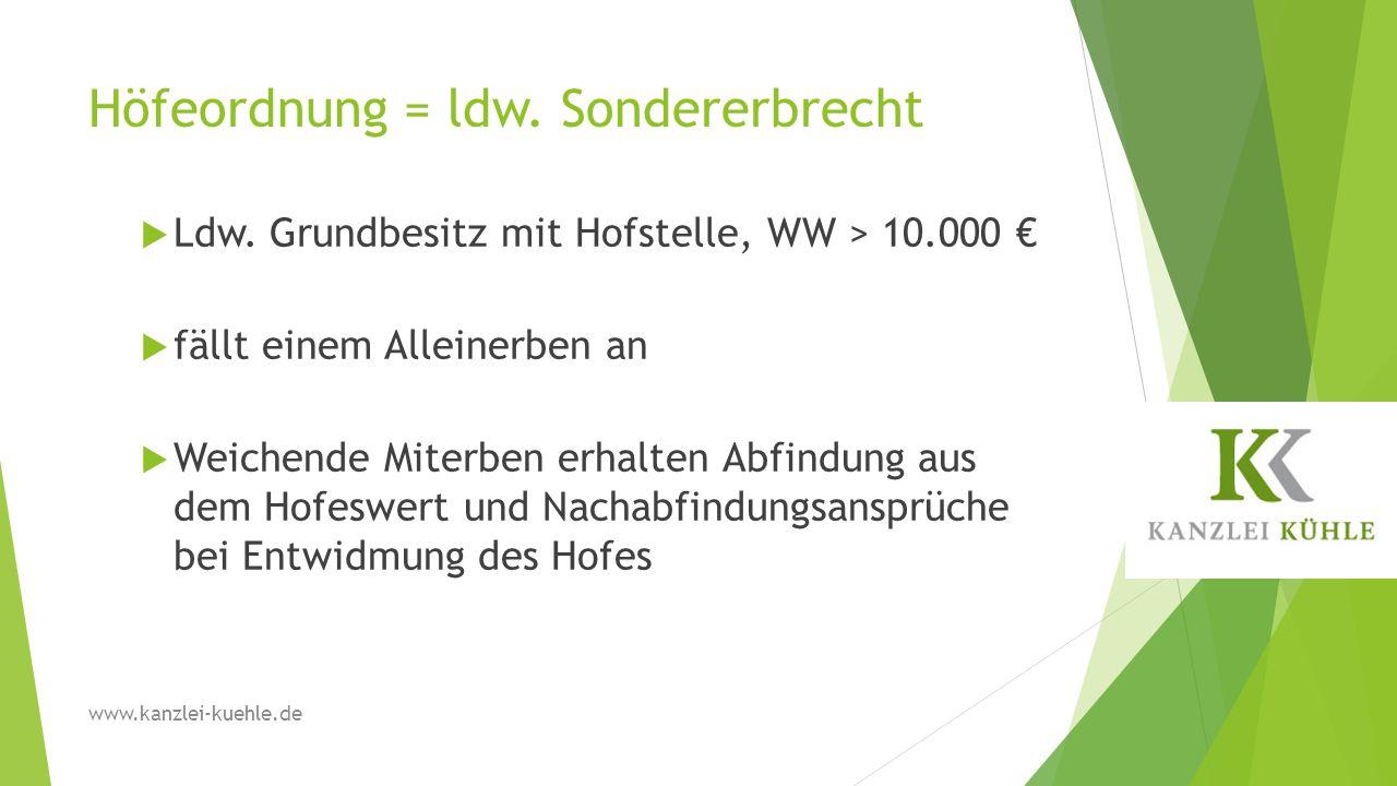 Höfeordnung = ldw. Sondererbrecht  Ldw. Grundbesitz mit Hofstelle, WW > 10.000 €  fällt einem Alleinerben an  Weichende Miterben erhalten Abfindung
