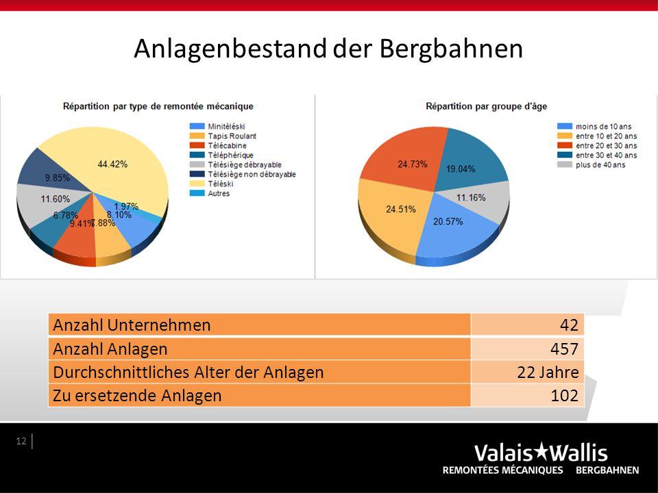 Anlagenbestand der Bergbahnen 12 Anzahl Unternehmen42 Anzahl Anlagen457 Durchschnittliches Alter der Anlagen22 Jahre Zu ersetzende Anlagen102