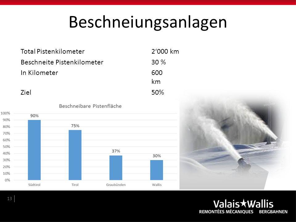 Beschneiungsanlagen Total Pistenkilometer2'000 km Beschneite Pistenkilometer30 % In Kilometer600 km Ziel50% 13