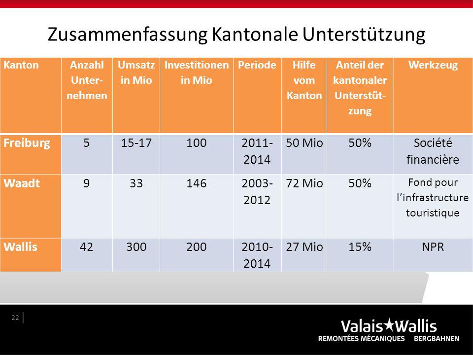 Zusammenfassung Kantonale Unterstützung 22 Kanton Anzahl Unter- nehmen Umsatz in Mio Investitionen in Mio Periode Hilfe vom Kanton Anteil der kantonal