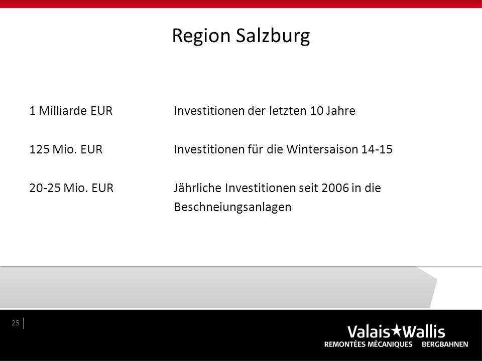 Region Salzburg 1 Milliarde EURInvestitionen der letzten 10 Jahre 125 Mio. EUR Investitionen für die Wintersaison 14-15 20-25 Mio. EUR Jährliche Inves