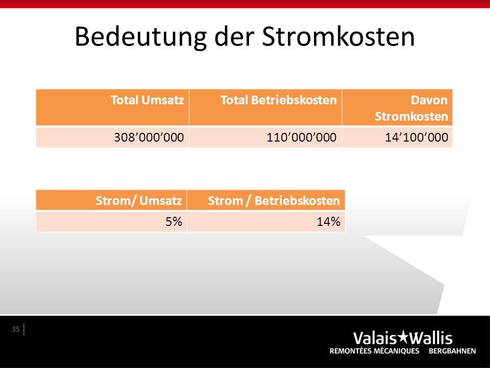 Bedeutung der Stromkosten 35 Total UmsatzTotal BetriebskostenDavon Stromkosten 308'000'000110'000'00014'100'000 Strom/ UmsatzStrom / Betriebskosten 5%