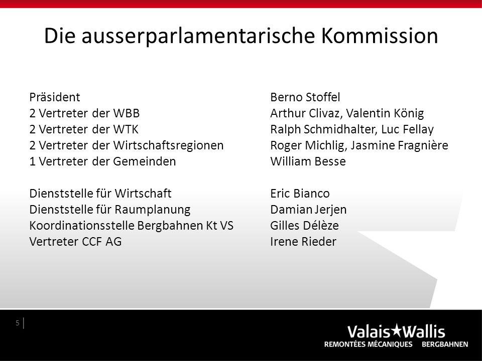 Die ausserparlamentarische Kommission 5 PräsidentBerno Stoffel 2 Vertreter der WBBArthur Clivaz, Valentin König 2 Vertreter der WTK Ralph Schmidhalter
