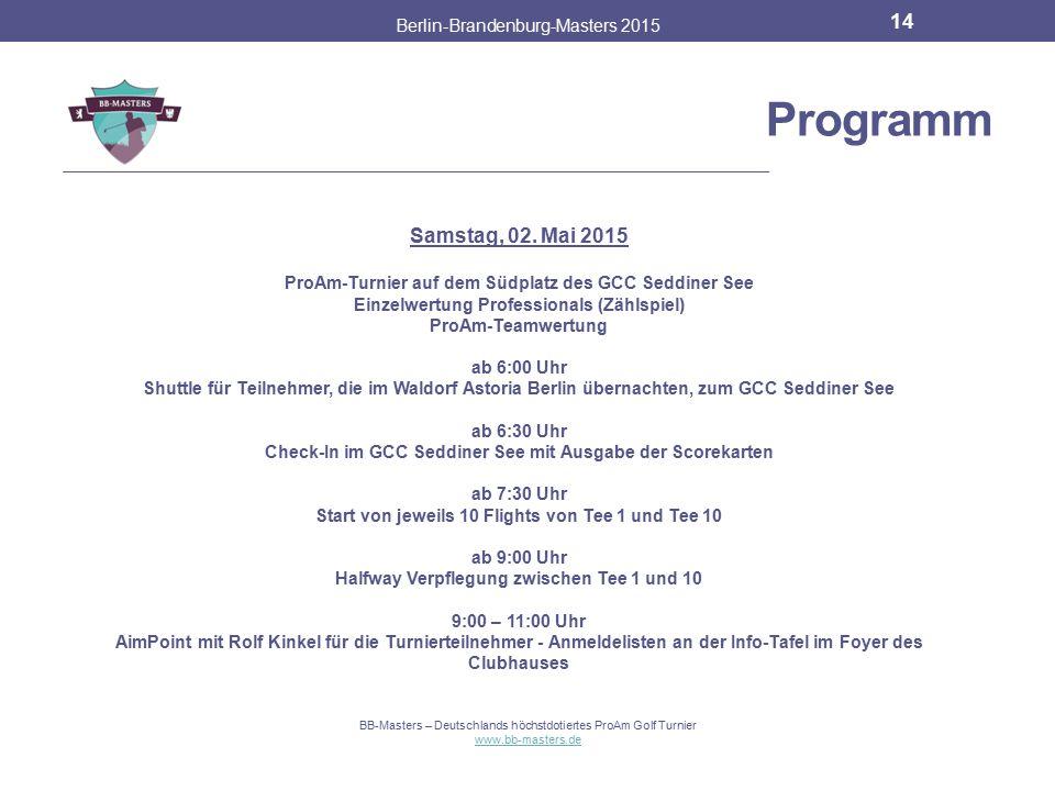 Partner & Sponsoren Berlin-Brandenburg-Masters 2015 13 BB-Masters – Deutschlands höchstdotiertes ProAm Golf Turnier www.bb-masters.de