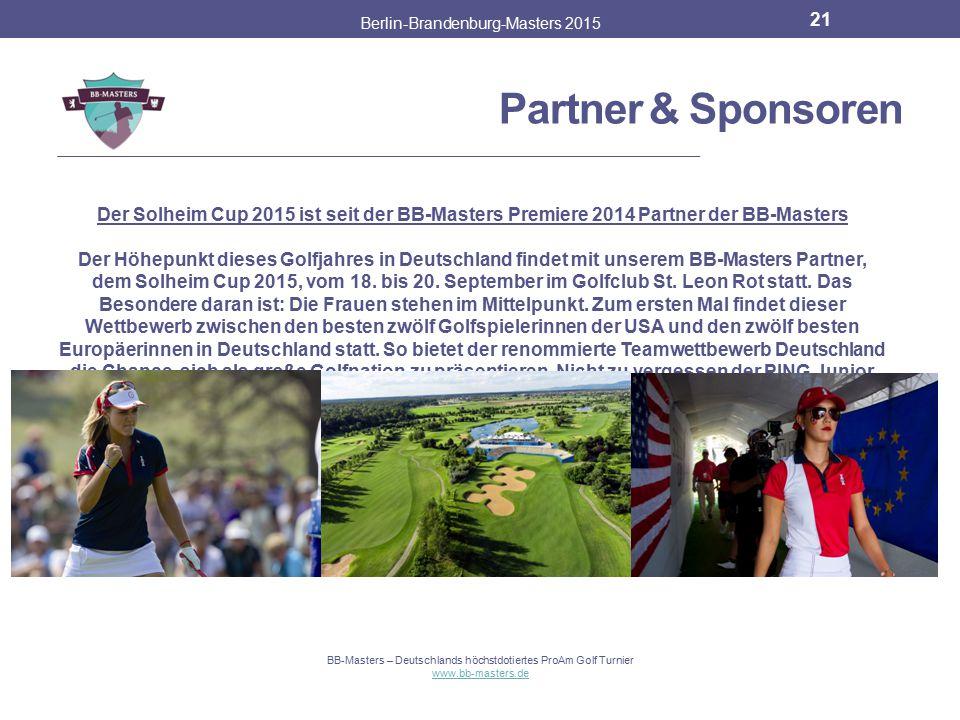 Charity Berlin-Brandenburg-Masters 2015 20 BB-Masters – Deutschlands höchstdotiertes ProAm Golf Turnier www.bb-masters.de BIRDIE for HOPE Zusammen mit