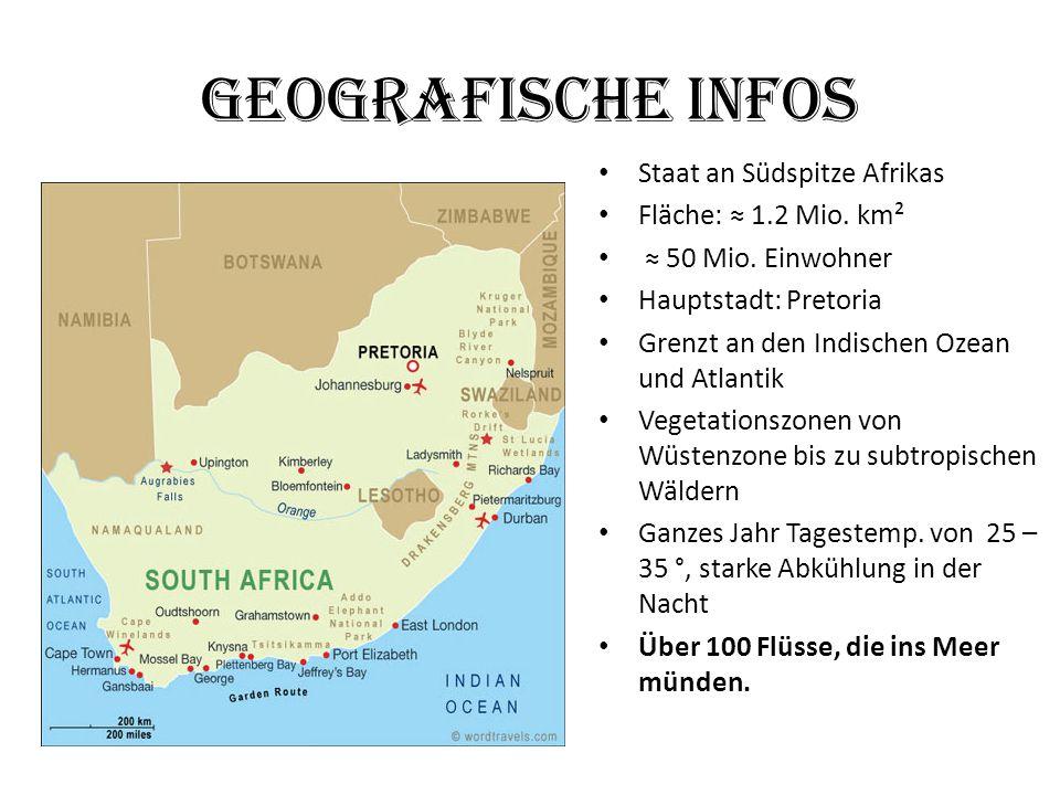 Geografische Infos Staat an Südspitze Afrikas Fläche: ≈ 1.2 Mio. km² ≈ 50 Mio. Einwohner Hauptstadt: Pretoria Grenzt an den Indischen Ozean und Atlant