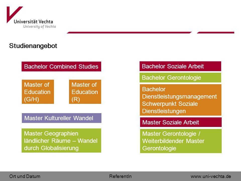 Ort und Datumwww.uni-vechta.deReferentIn Studienangebot Bachelor Combined Studies Master of Education (G/H) Master Geographien ländlicher Räume – Wand