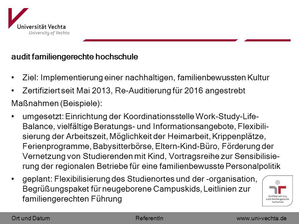 Ort und Datumwww.uni-vechta.deReferentIn audit familiengerechte hochschule Ziel: Implementierung einer nachhaltigen, familienbewussten Kultur Zertifiz