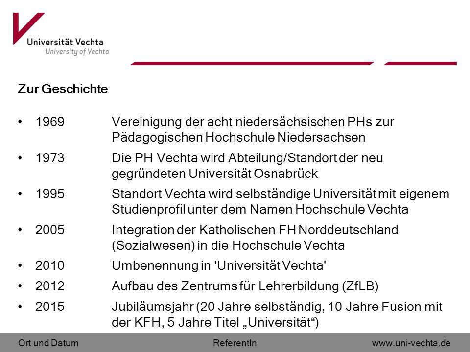 Ort und Datumwww.uni-vechta.deReferentIn Zur Geschichte 1969 Vereinigung der acht niedersächsischen PHs zur Pädagogischen Hochschule Niedersachsen 197