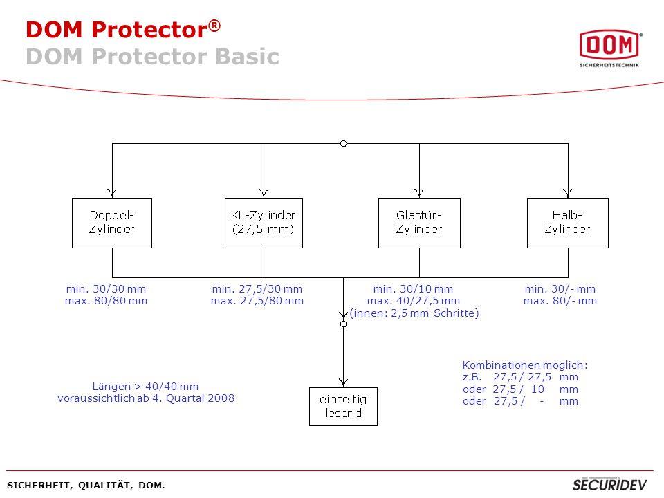 DOM Protector ® SICHERHEIT, QUALITÄT, DOM. DOM Protector Basic min. 30/30 mm max. 80/80 mm min. 27,5/30 mm max. 27,5/80 mm min. 30/10 mm max. 40/27,5