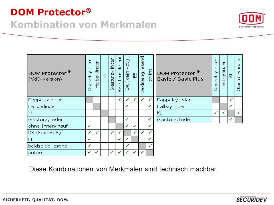 DOM Protector ® SICHERHEIT, QUALITÄT, DOM. Kombination von Merkmalen Diese Kombinationen von Merkmalen sind technisch machbar.