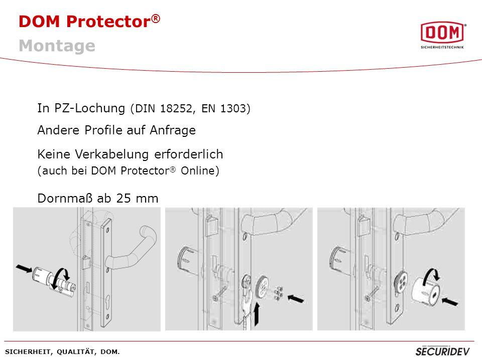 DOM Protector ® SICHERHEIT, QUALITÄT, DOM. Montage In PZ-Lochung (DIN 18252, EN 1303) Andere Profile auf Anfrage Keine Verkabelung erforderlich (auch
