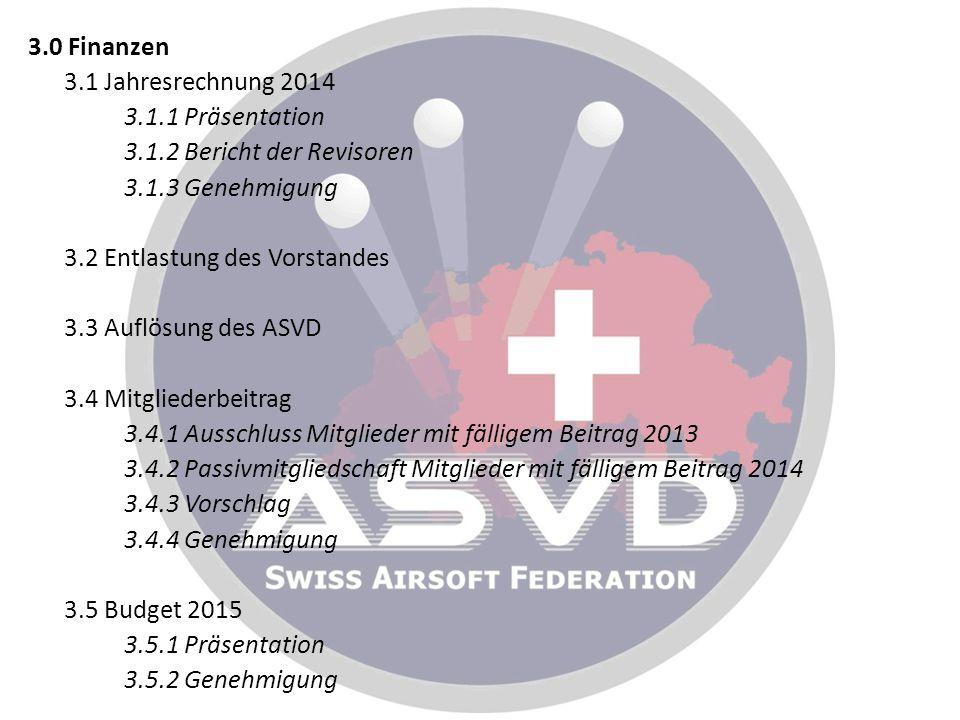 3.0 Finanzen 3.1 Jahresrechnung 2014 3.1.1 Präsentation 3.1.2 Bericht der Revisoren 3.1.3 Genehmigung 3.2 Entlastung des Vorstandes 3.3 Auflösung des