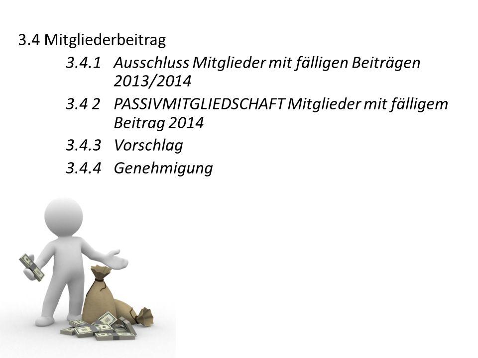 3.4 Mitgliederbeitrag 3.4.1 Ausschluss Mitglieder mit fälligen Beiträgen 2013/2014 3.4 2 PASSIVMITGLIEDSCHAFT Mitglieder mit fälligem Beitrag 2014 3.4