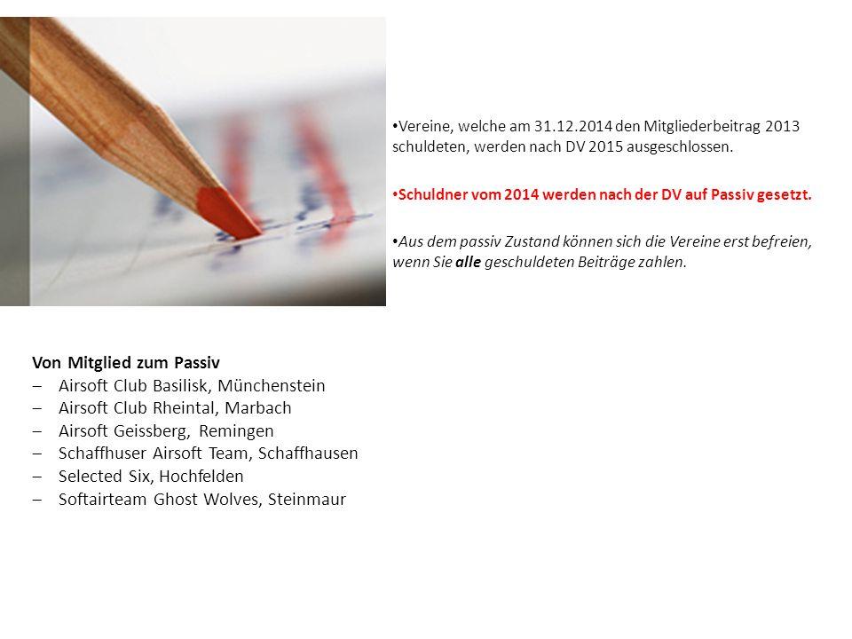 Vereine, welche am 31.12.2014 den Mitgliederbeitrag 2013 schuldeten, werden nach DV 2015 ausgeschlossen. Schuldner vom 2014 werden nach der DV auf Pas