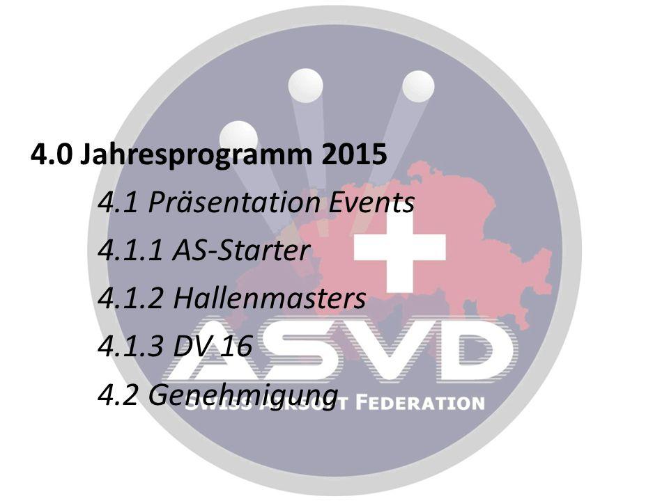 4.0 Jahresprogramm 2015 4.1 Präsentation Events 4.1.1 AS-Starter 4.1.2 Hallenmasters 4.1.3 DV 16 4.2 Genehmigung