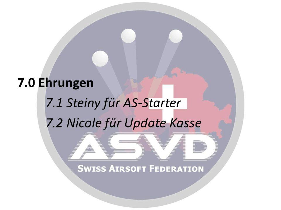 7.0 Ehrungen 7.1 Steiny für AS-Starter 7.2 Nicole für Update Kasse