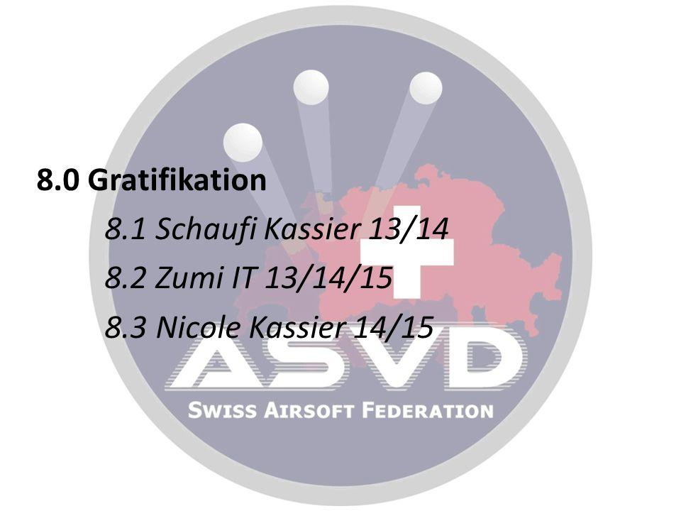 8.0 Gratifikation 8.1 Schaufi Kassier 13/14 8.2 Zumi IT 13/14/15 8.3 Nicole Kassier 14/15