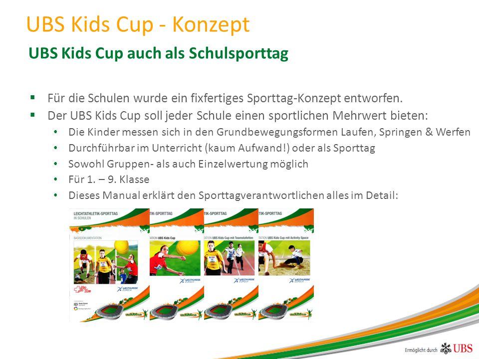  Für die Schulen wurde ein fixfertiges Sporttag-Konzept entworfen.  Der UBS Kids Cup soll jeder Schule einen sportlichen Mehrwert bieten: Die Kinder