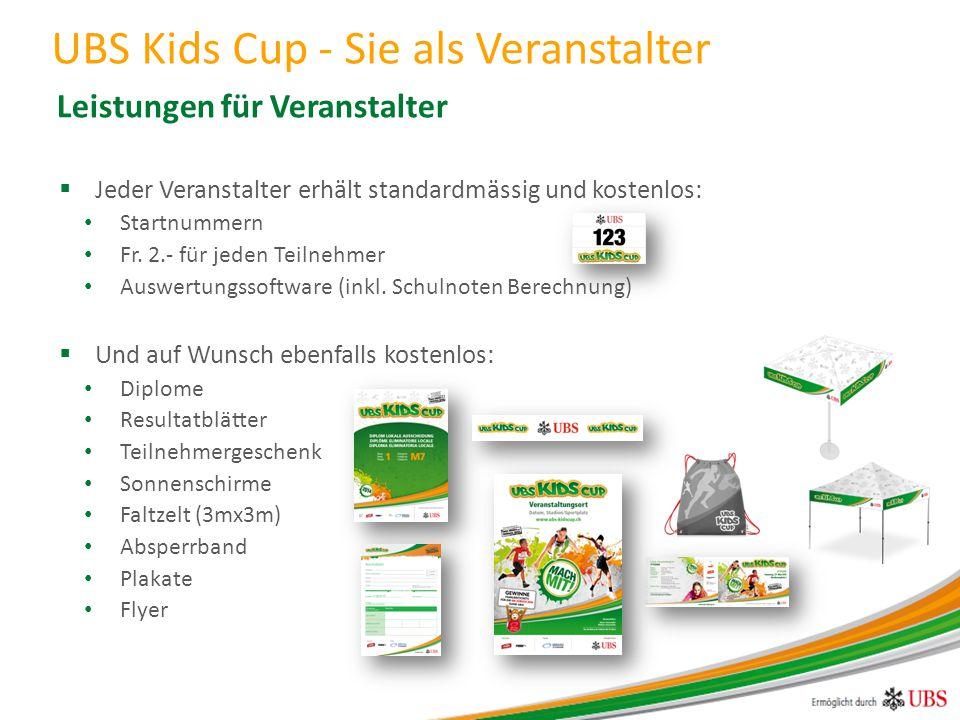 Zur Durchführung Ihres UBS Kids Cup gelten lediglich 3 Voraussetzungen: 1)Registrierung des Anlasses auf der UBS Kids Cup Homepage 2)Tragen der gratis gelieferten Startnummern 3)Meldung der Resultate mittels zur Verfügung gestellten Auswertungssoftware  Alle weiteren Infos zur Registrierung finden Sie unter: www.ubs-kidscup.chwww.ubs-kidscup.ch  Bitte kontaktieren Sie uns bei jeglichen Fragen: UBS Kids Cup Projektteam Baslerstrasse 30 8048 Zürich Tel: 044 495 80 84 info@ubs-kidscup.ch UBS Kids Cup - Sie als Veranstalter Voraussetzungen und Kontakt