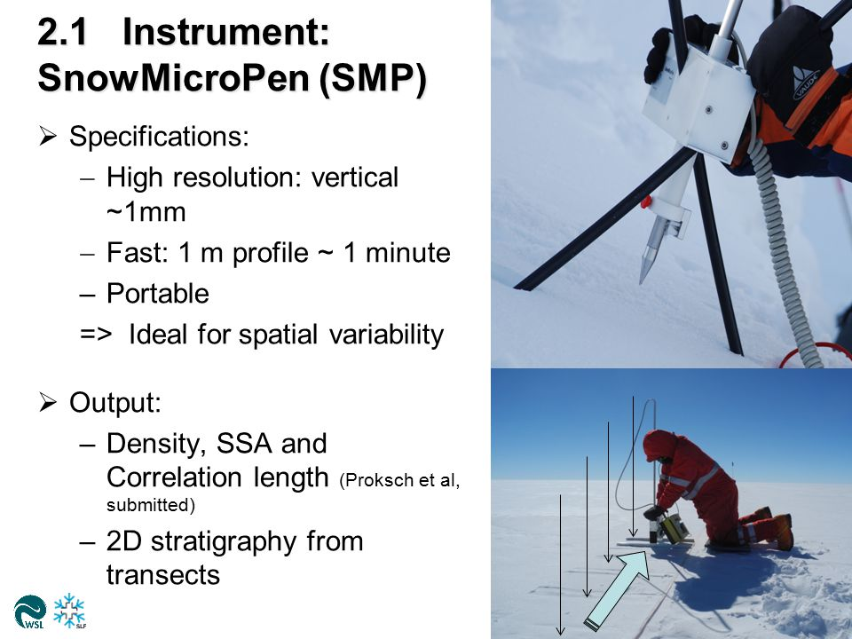 2.1Instrument: SnowMicroPen (SMP)  Specifications:  High resolution: vertical ~1mm  Fast: 1 m profile ~ 1 minute –Portable => Ideal for spatial variability  Output: –Density, SSA and Correlation length (Proksch et al, submitted) –2D stratigraphy from transects 5