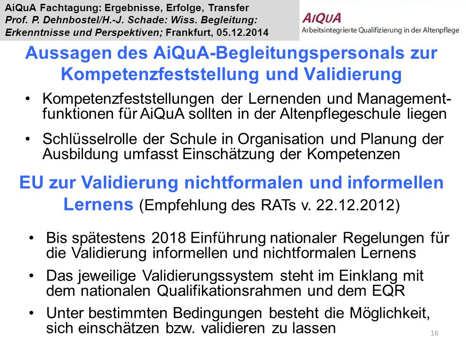 AiQuA Fachtagung: Ergebnisse, Erfolge, Transfer Prof.