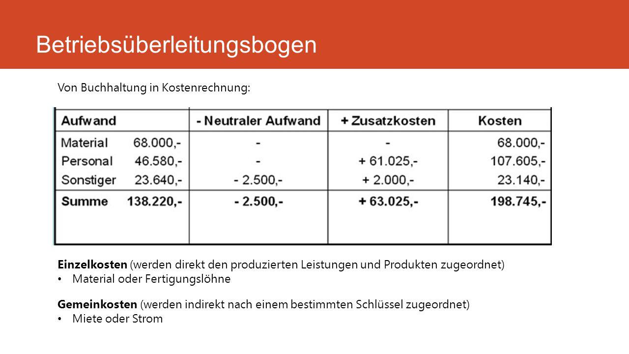 Betriebsüberleitungsbogen Von Buchhaltung in Kostenrechnung: Einzelkosten (werden direkt den produzierten Leistungen und Produkten zugeordnet) Materia