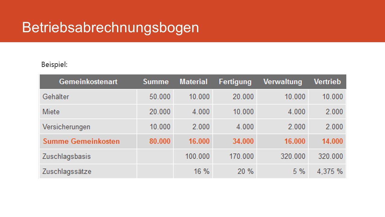 Betriebsabrechnungsbogen Beispiel: