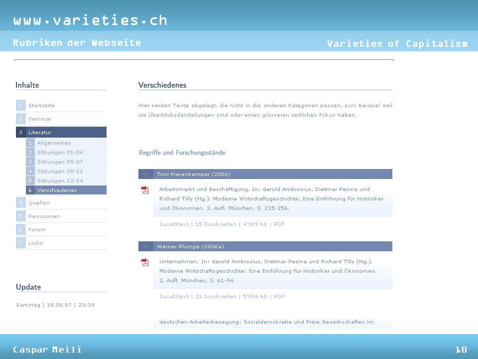 www.varieties.ch Varieties of Capitalism Rubriken der Webseite Caspar Meili10