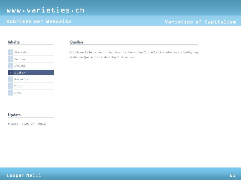 www.varieties.ch Varieties of Capitalism Rubriken der Webseite Caspar Meili11