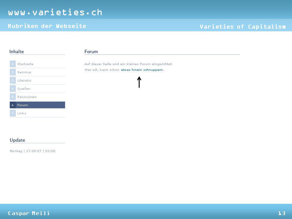 www.varieties.ch Varieties of Capitalism Rubriken der Webseite Caspar Meili13