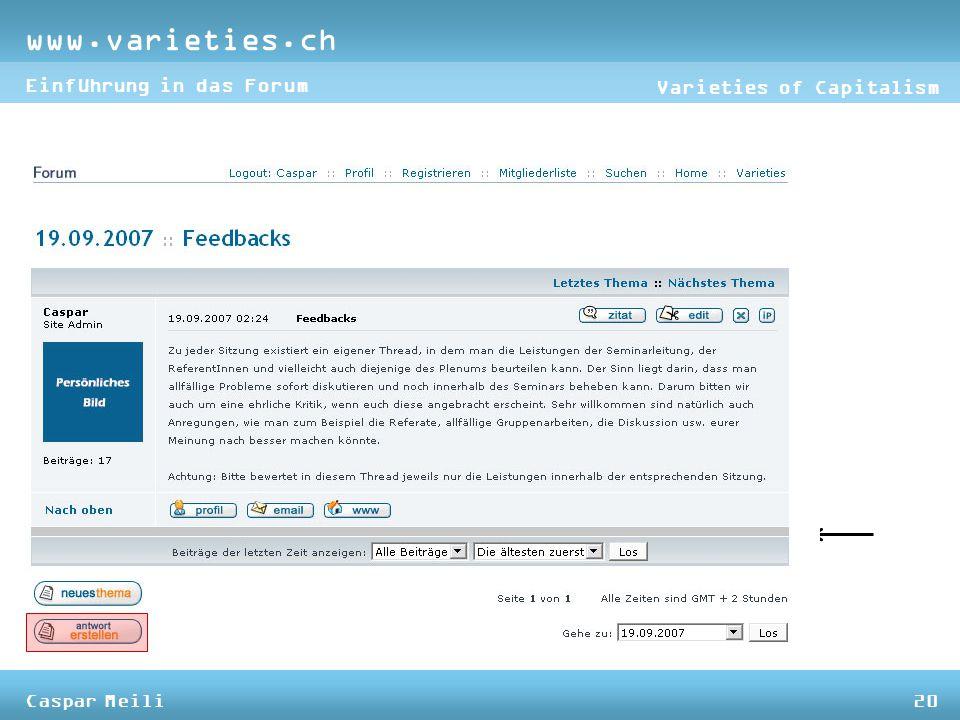 www.varieties.ch Varieties of Capitalism Einführung in das Forum Caspar Meili20