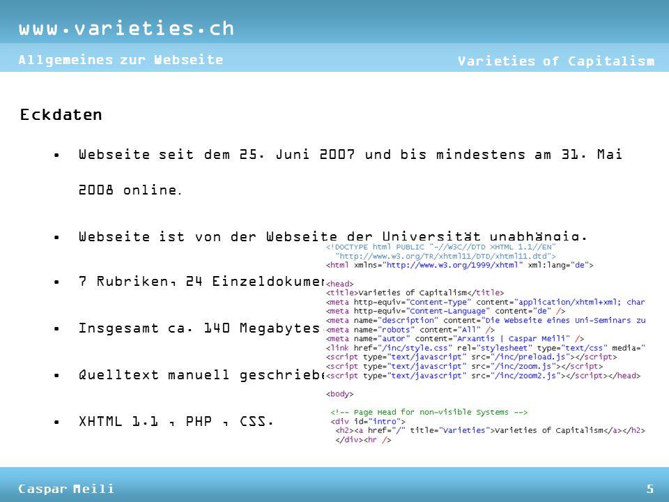 Eckdaten Webseite seit dem 25. Juni 2007 und bis mindestens am 31.