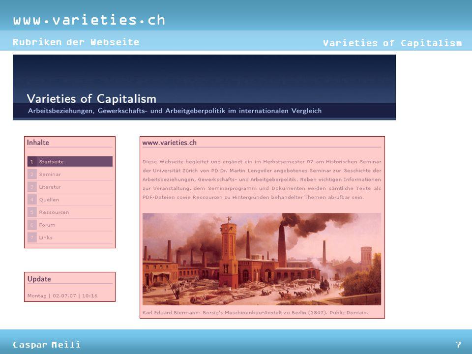 www.varieties.ch Varieties of Capitalism Rubriken der Webseite Caspar Meili7