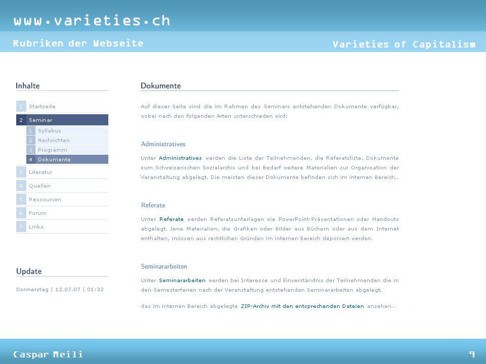 www.varieties.ch Varieties of Capitalism Rubriken der Webseite Caspar Meili9