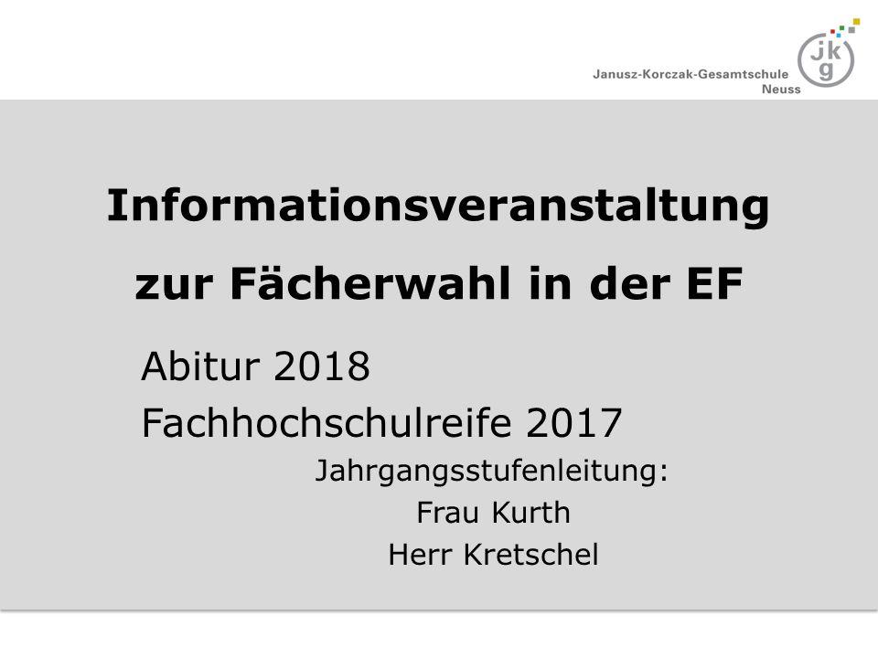 Informationsveranstaltung zur Fächerwahl in der EF Abitur 2018 Fachhochschulreife 2017 Jahrgangsstufenleitung: Frau Kurth Herr Kretschel