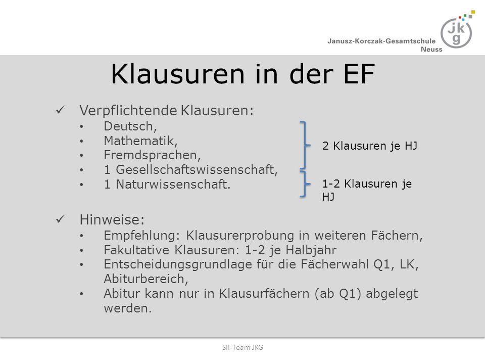 Klausuren in der EF Verpflichtende Klausuren: Deutsch, Mathematik, Fremdsprachen, 1 Gesellschaftswissenschaft, 1 Naturwissenschaft. Hinweise: Empfehlu