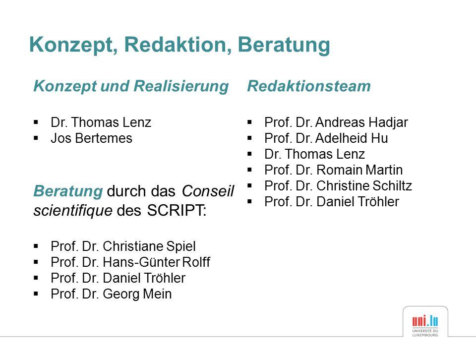 Konzept, Redaktion, Beratung Redaktionsteam  Prof.