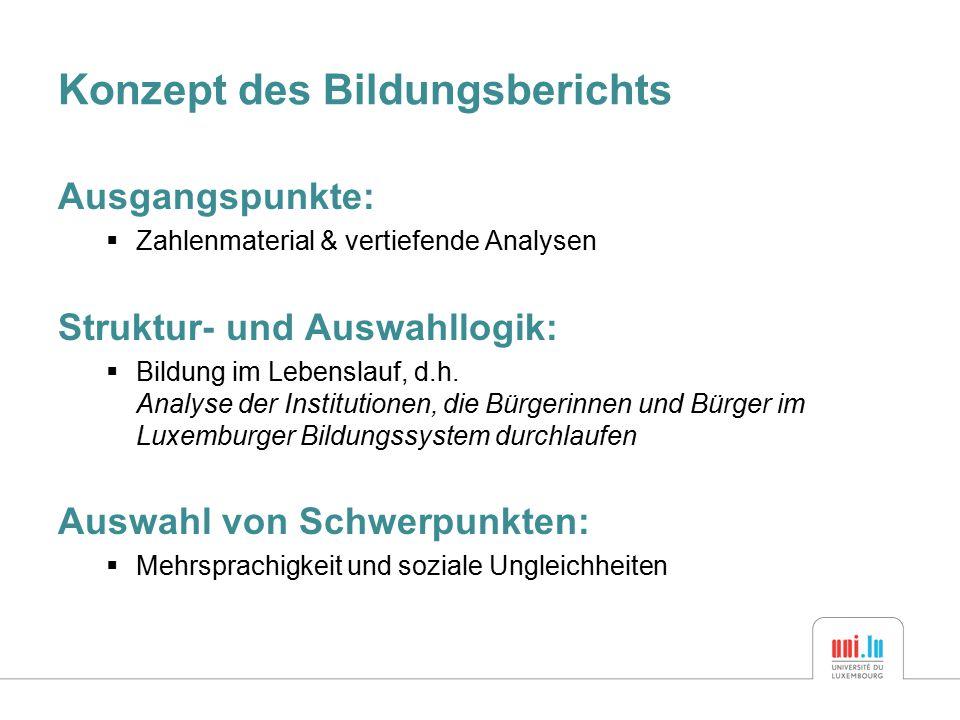 Konzept des Bildungsberichts Ausgangspunkte:  Zahlenmaterial & vertiefende Analysen Struktur- und Auswahllogik:  Bildung im Lebenslauf, d.h.