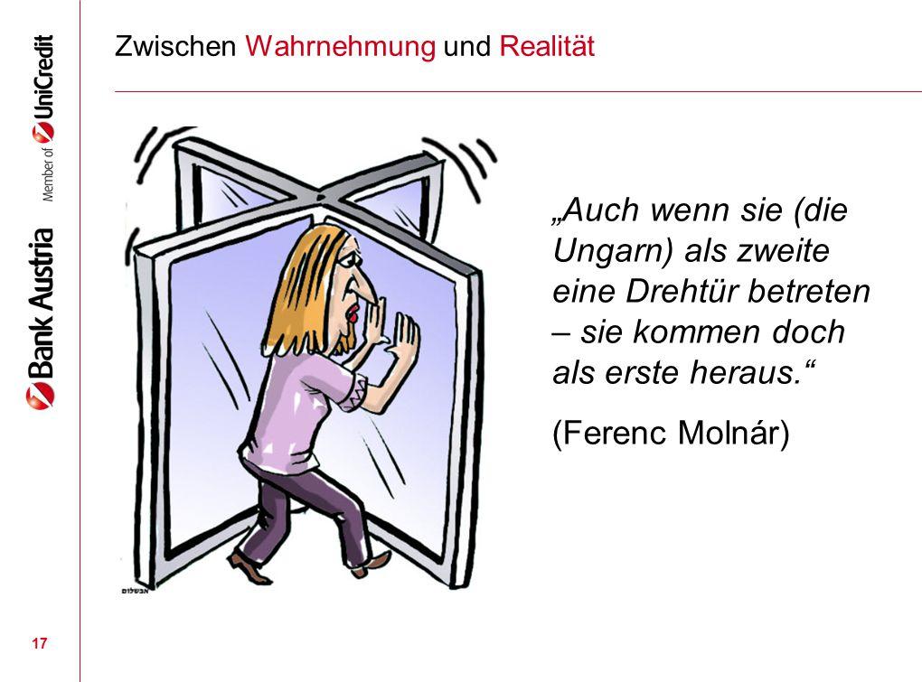 """17 Zwischen Wahrnehmung und Realität """"Auch wenn sie (die Ungarn) als zweite eine Drehtür betreten – sie kommen doch als erste heraus."""" (Ferenc Molnár)"""