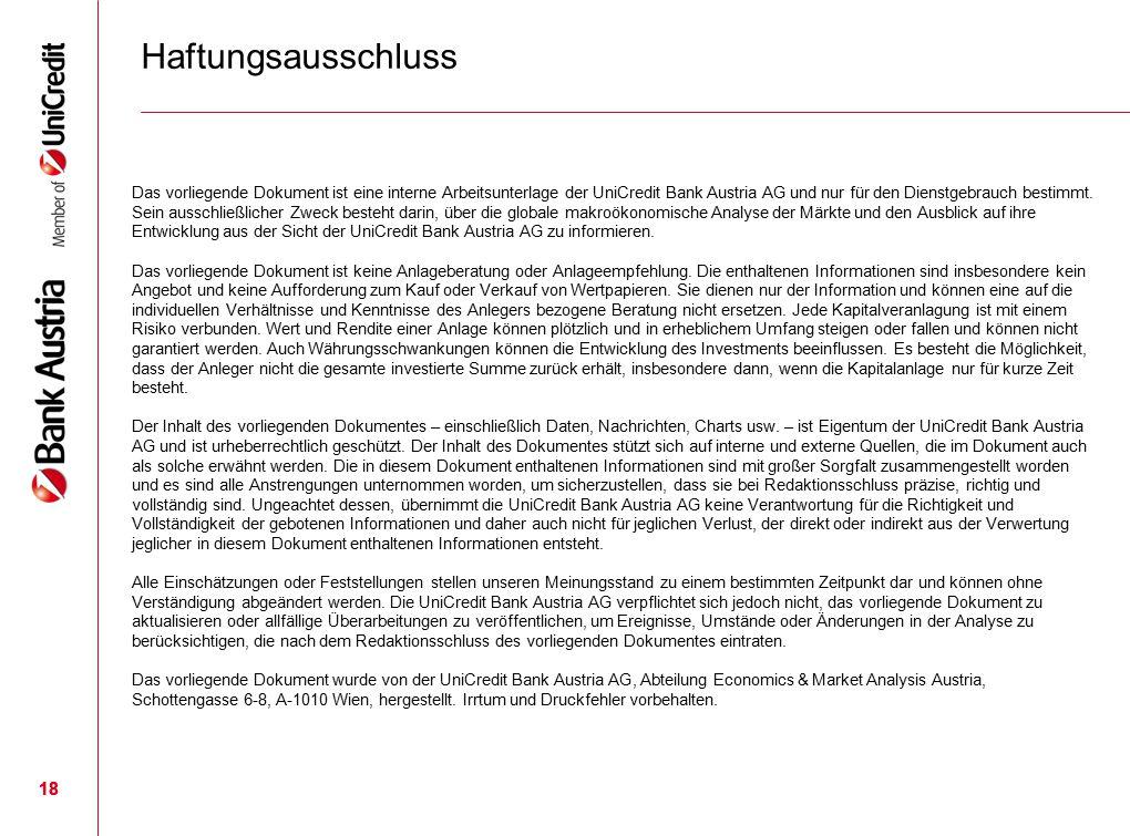 18 Das vorliegende Dokument ist eine interne Arbeitsunterlage der UniCredit Bank Austria AG und nur für den Dienstgebrauch bestimmt. Sein ausschließli