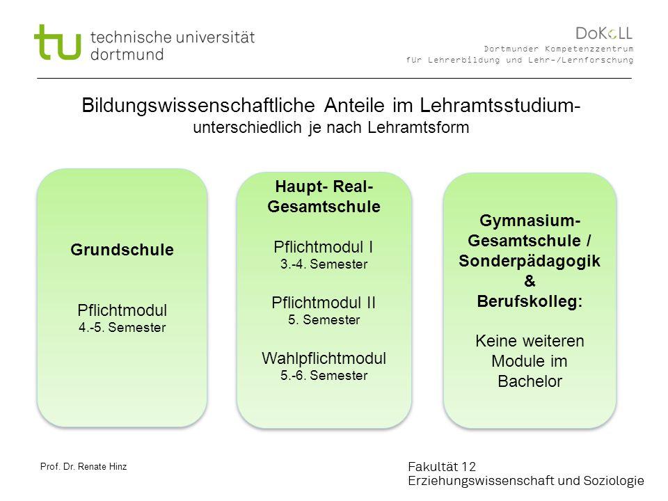 2 Dortmunder Kompetenzzentrum für Lehrerbildung und Lehr-/Lernforschung Bildungswissenschaftliche Anteile im Lehramtsstudium- unterschiedlich je nach Lehramtsform Grundschule Pflichtmodul 4.-5.