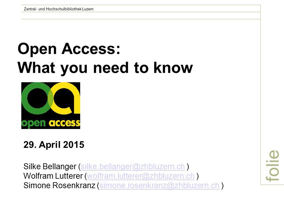 Luzerner Forschende und Open Access: Status Quo – Möglichkeiten (Uni) Autor/inFachAnzahl Artikel Zeitschriften GoldGrünKeine AngabenAktuell frei zugänglich V.