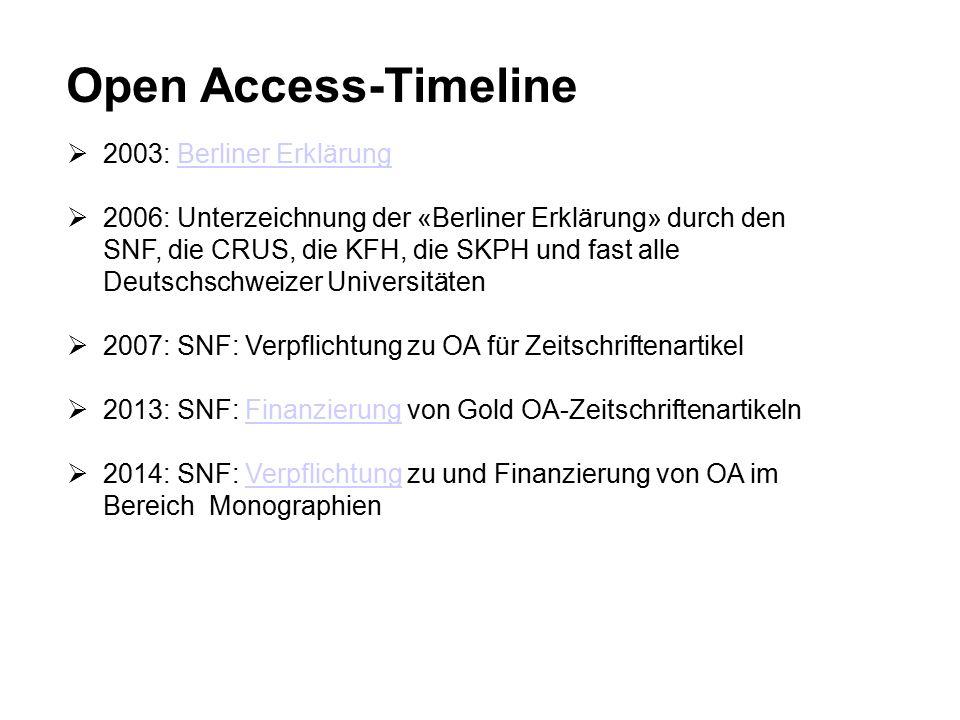 Open Access-Timeline  2003: Berliner ErklärungBerliner Erklärung  2006: Unterzeichnung der «Berliner Erklärung» durch den SNF, die CRUS, die KFH, die SKPH und fast alle Deutschschweizer Universitäten  2007: SNF: Verpflichtung zu OA für Zeitschriftenartikel  2013: SNF: Finanzierung von Gold OA-ZeitschriftenartikelnFinanzierung  2014: SNF: Verpflichtung zu und Finanzierung von OA im Bereich MonographienVerpflichtung