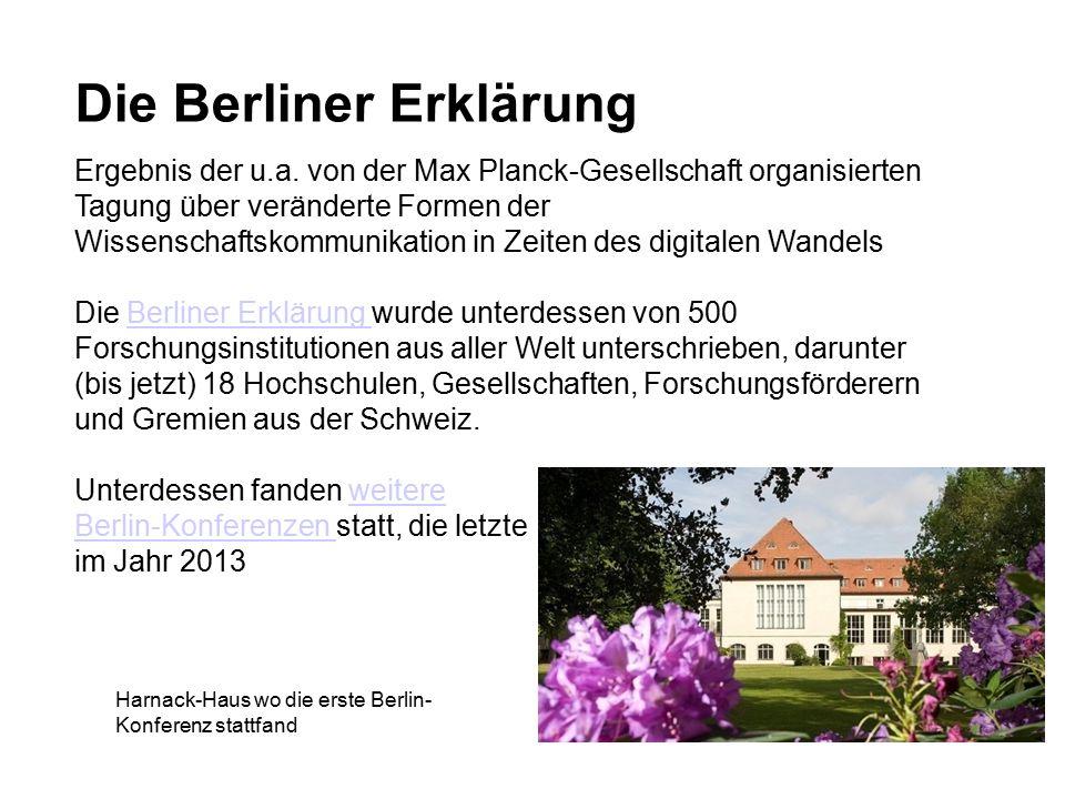 Die Berliner Erklärung Ergebnis der u.a.