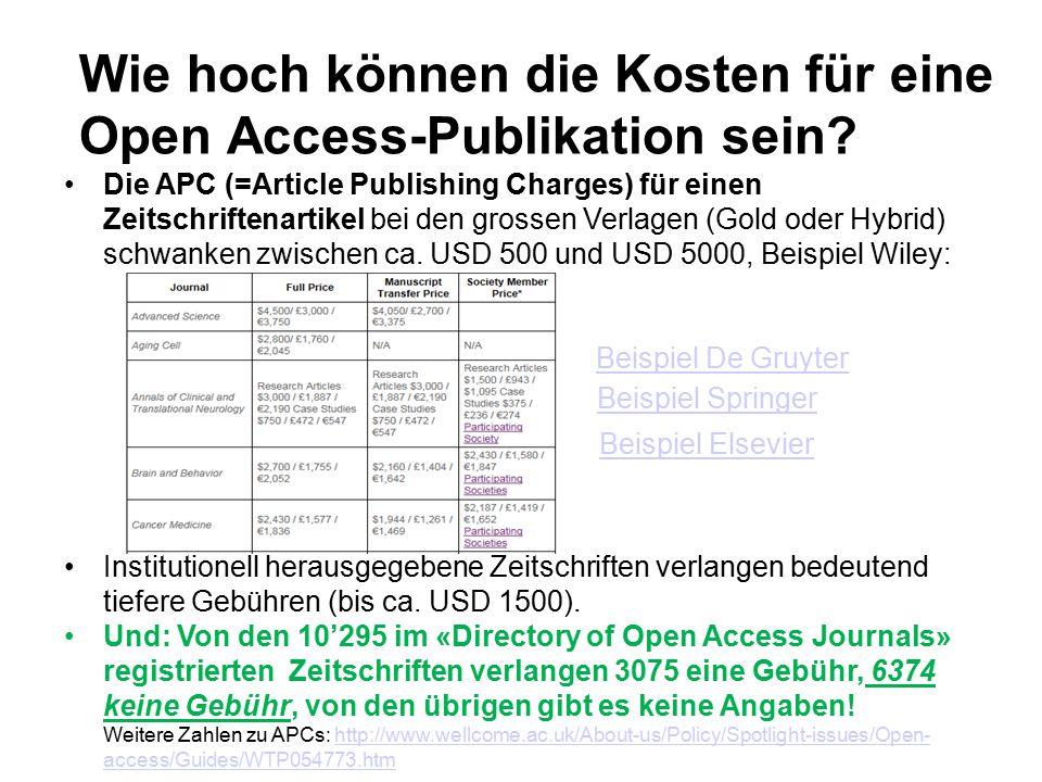 Wie hoch können die Kosten für eine Open Access-Publikation sein.