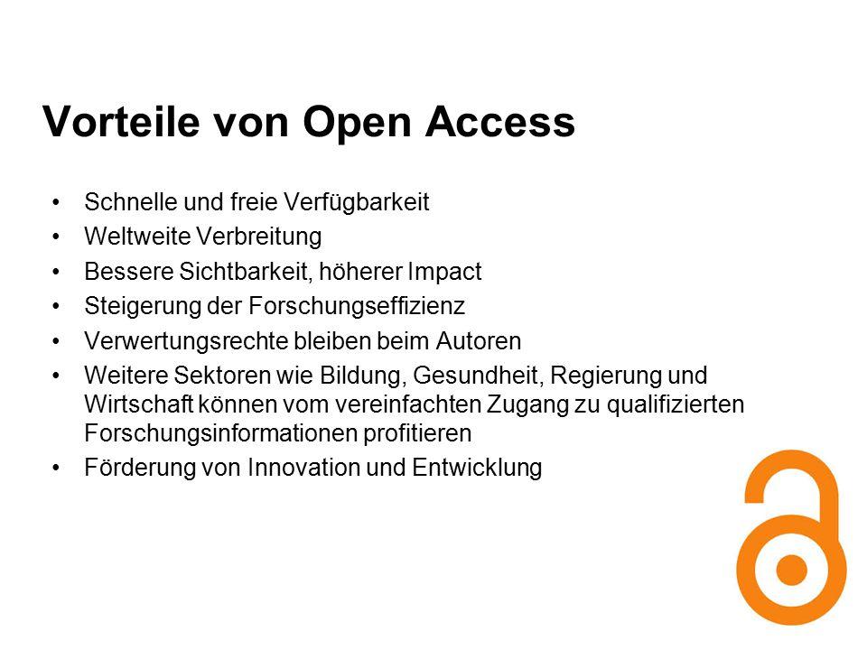 Quelle: http://latrobe.libguides.com/content.php?pid=465755&sid=3813852 http://latrobe.libguides.com/content.php?pid=465755&sid=3813852 Vorteile von Open Access