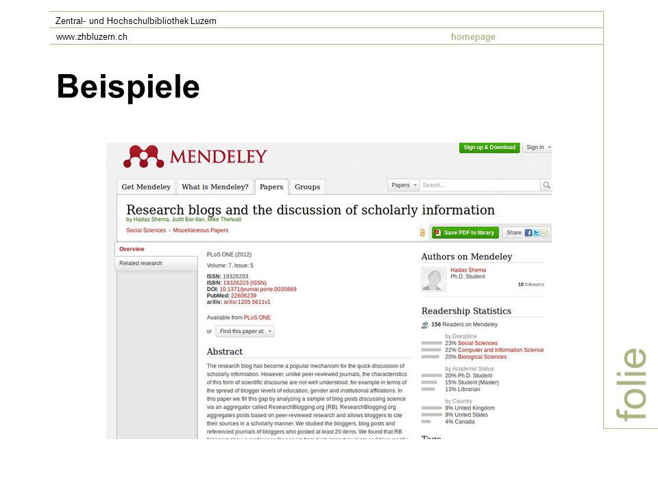 Beispiele folie Zentral- und Hochschulbibliothek Luzern www.zhbluzern.chhomepage