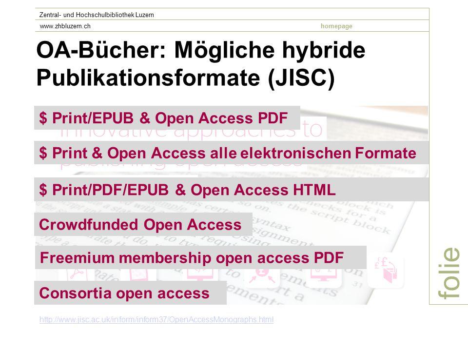 OA-Bücher: Mögliche hybride Publikationsformate (JISC) folie Zentral- und Hochschulbibliothek Luzern www.zhbluzern.chhomepage http://www.jisc.ac.uk/inform/inform37/OpenAccessMonographs.html $ Print/EPUB & Open Access PDF $ Print & Open Access alle elektronischen Formate $ Print/PDF/EPUB & Open Access HTML Crowdfunded Open Access Freemium membership open access PDF Consortia open access