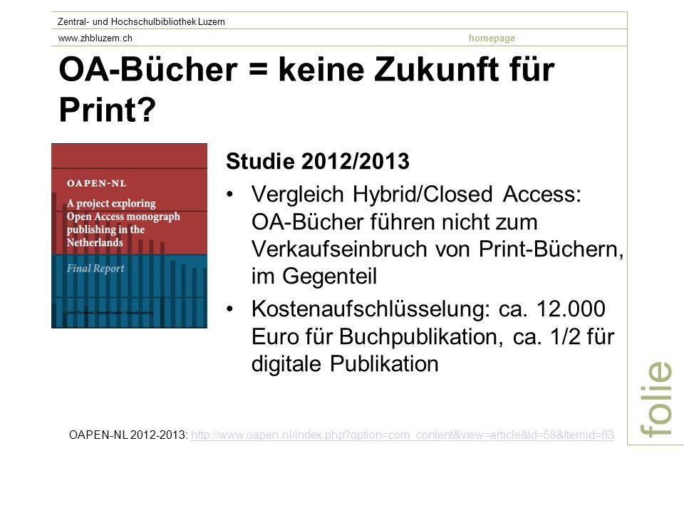 OA-Bücher = keine Zukunft für Print.